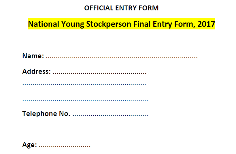 National young stockperson entry form