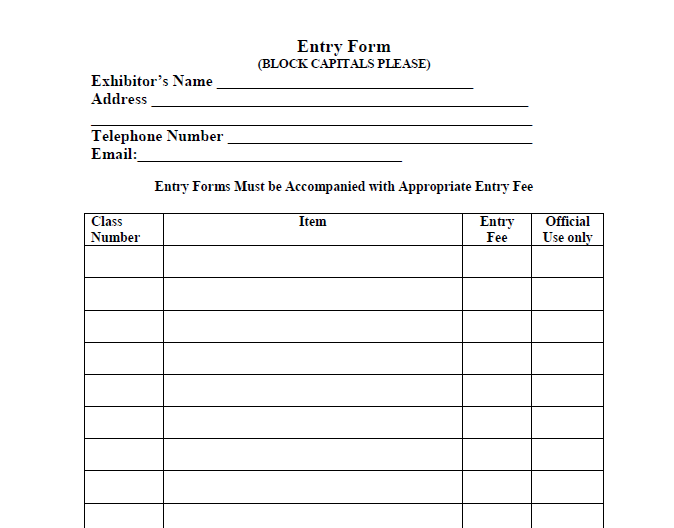 Swinford agricultural show entry form