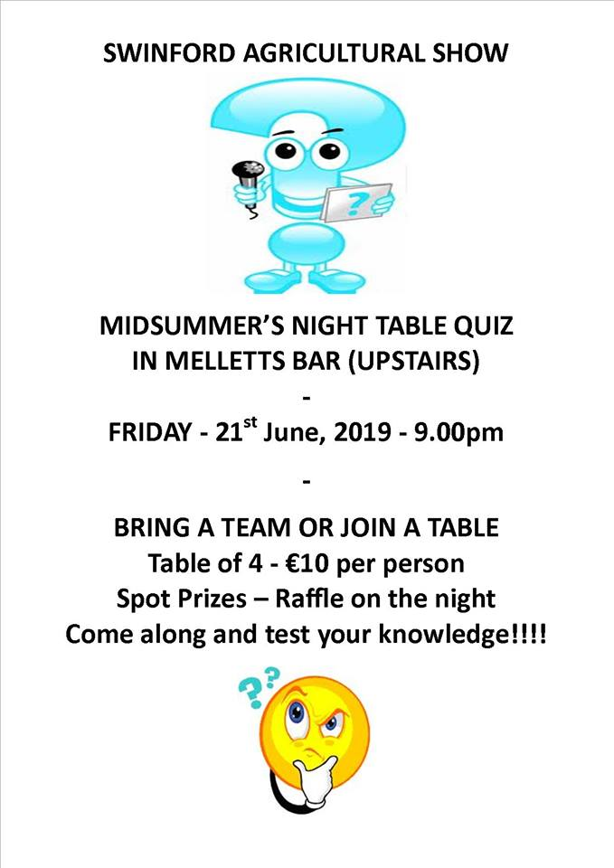 Table quiz poster in aid of Swinford agricultural show