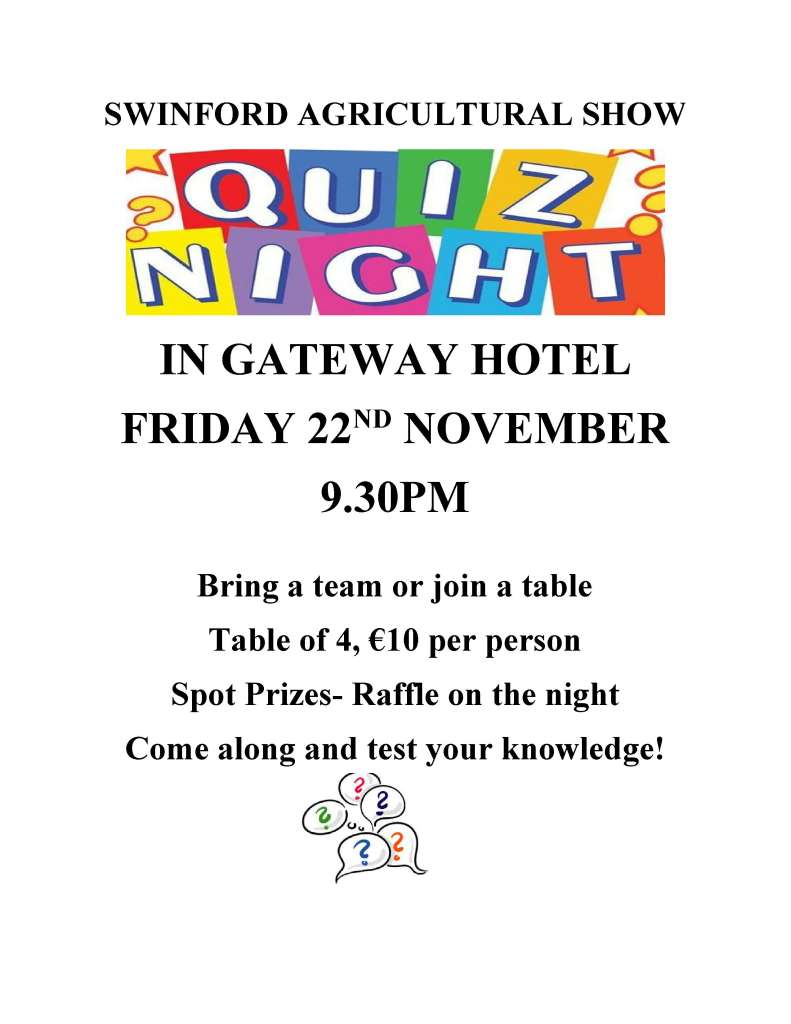 Swinford agricultural show quiz poster 22nd November 2019